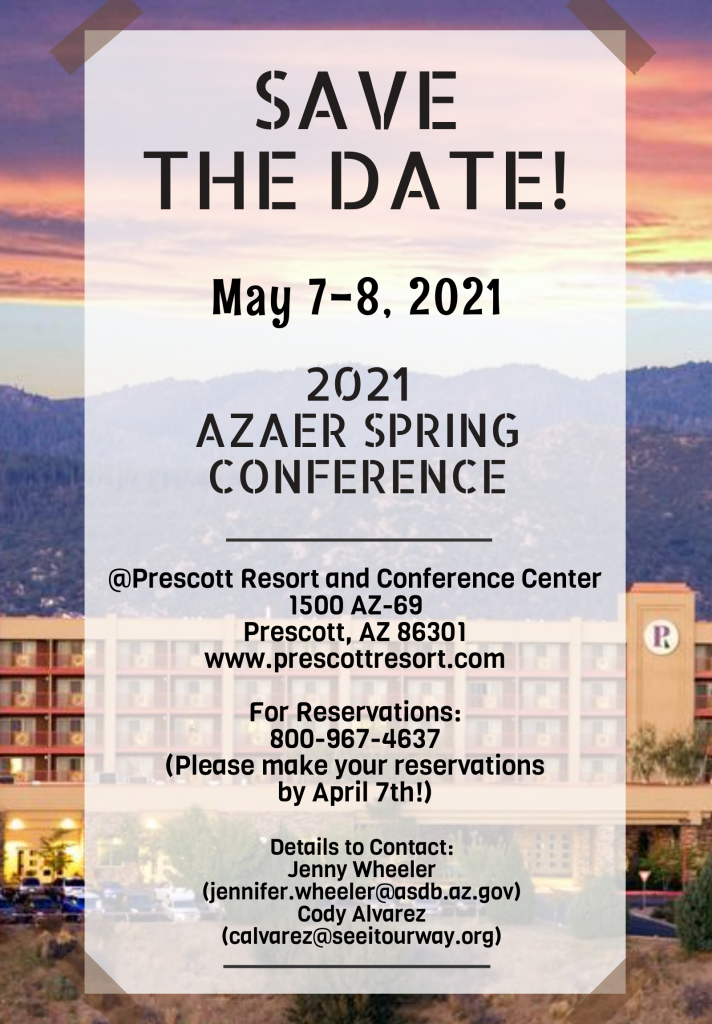 Image shows flyer taped to background of Prescott Conference Center and surrounding mountains and sky with save the date text listed above